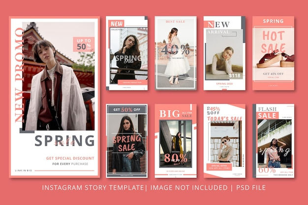 Spring sale instagram stories graphic template