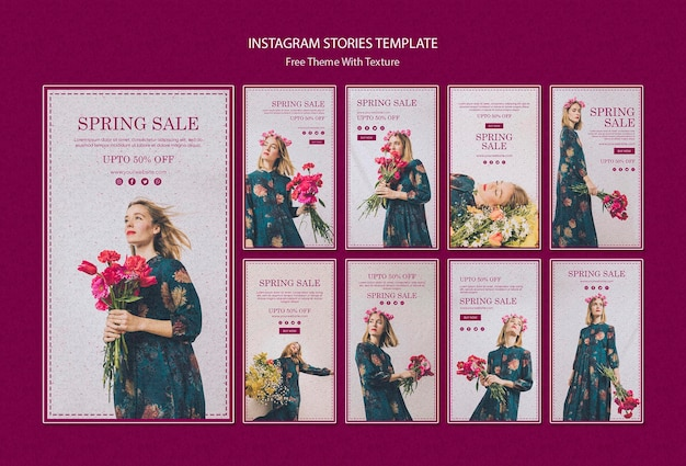Spring sale instagram stories template