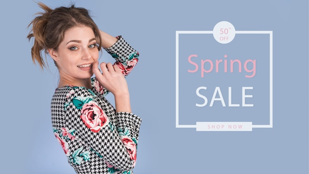 Spring sale mockup with stylish woman