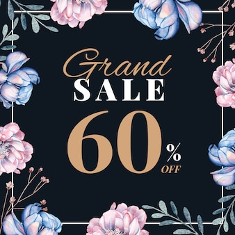 Spring sale post with hand-drawn floral decoration