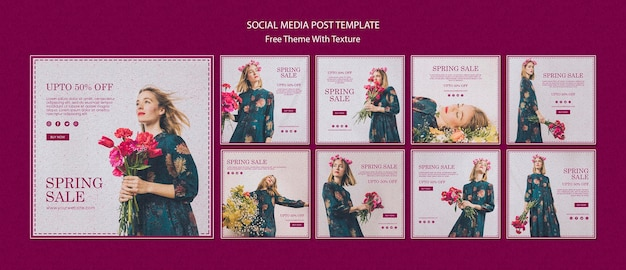 Spring sale social media post template