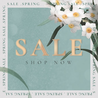Spring sale template psd for social media ad