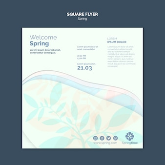 Spring square flyer template