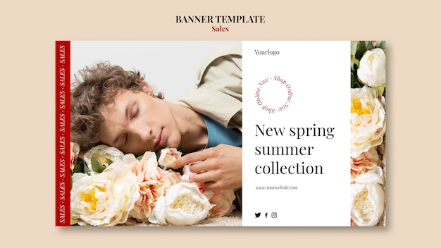 Spring summer fashion collection banner design template