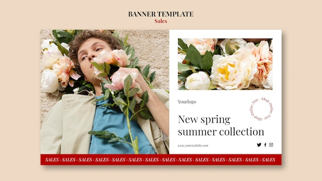 春夏ファッションコレクションバナーデザインテンプレート