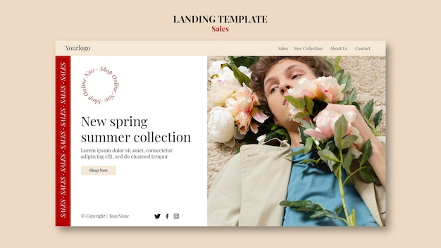 春夏ファッションコレクションのランディングページのデザインテンプレート