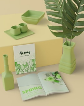 Spring time with 3d decorations mock-up