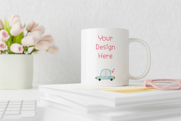 Spring white mug mockup on table with tulips