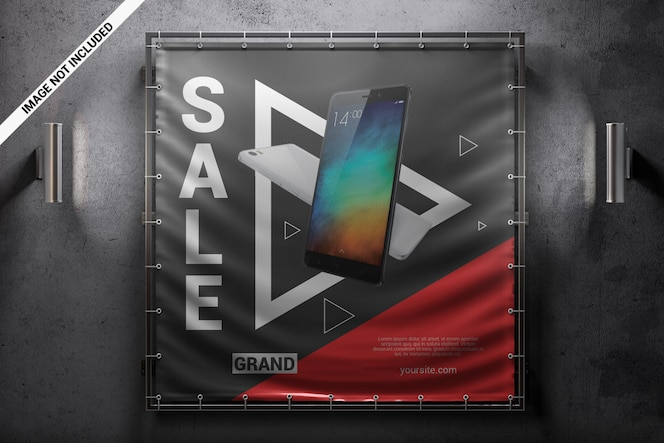 Square advertising wall banner mockup