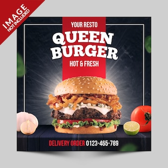Square banner, flyer or instagram post for fast food restaurant with burger photo