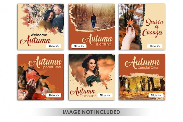 Square banner or instagram post with autumn sales theme
