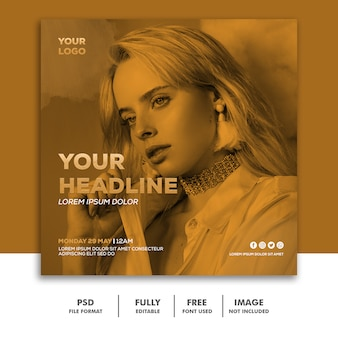 Square banner social media post template gold