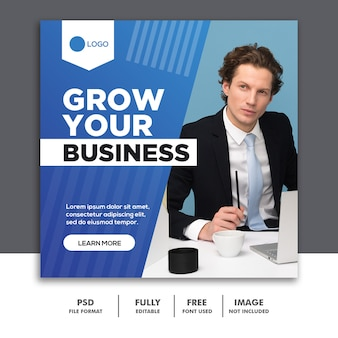 Square banner social media post template grow your business