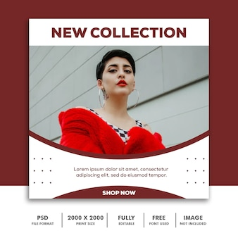 Square banner template,  beautiful girl fashion model collection red