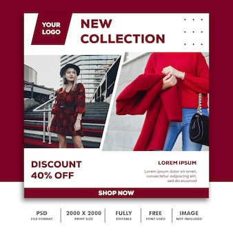 Square banner template, beautiful girl fashion model elegant red collection