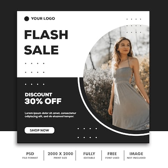 Square banner template,  beautiful girl fashion model elegant simple black