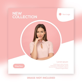 Square banner template, beautiful girl fashion model pink