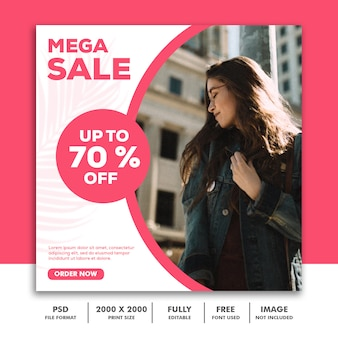 Square banner template for instagram, fashion trendy pink sale