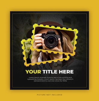 Square banner template for photographer