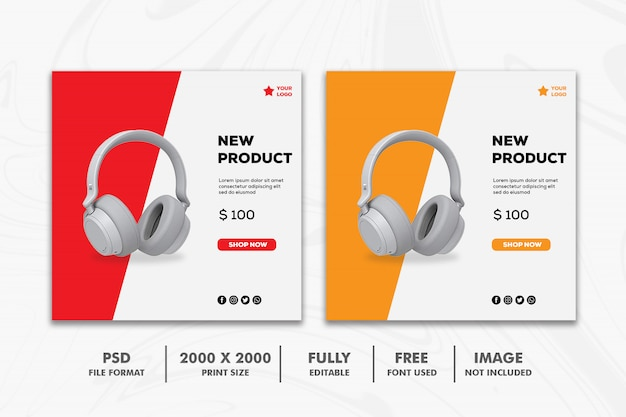 Square banner template, technology headphone red orange