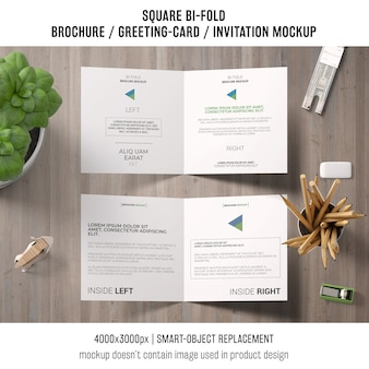 Square bi-fold brochure or greeting card mockup concept