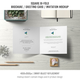 Square bi-fold brochure or greeting card mockup from above