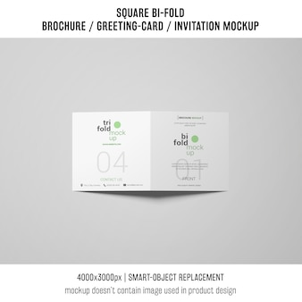Square bi-fold brochure or greeting card mockup on gray background