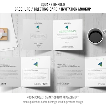 Square bi-fold brochure or greeting card mockup of three with coffee