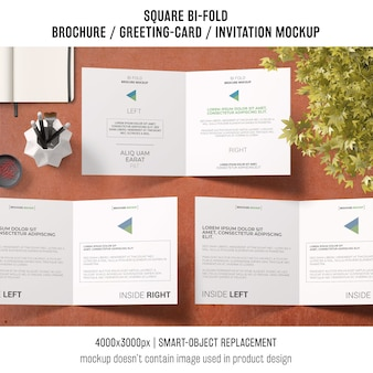 Square bi-fold brochure or greeting card mockup of three
