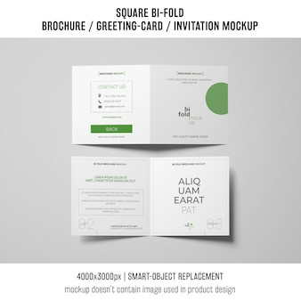 Square bi-fold brochure or greeting card mockup of two