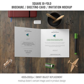 Square bi-fold brochure or greeting card mockup with decorative elements