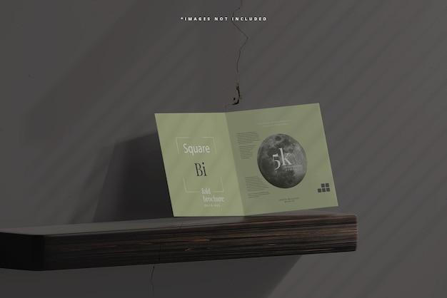 Square bi fold brochure mockup