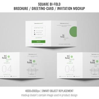 Square bi-fold brochure or greeting card mockup of three