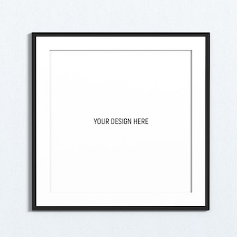 Square black frame mockup on white texture wall