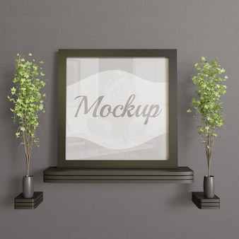 Square black frame mockup on the wooden wall desk.simple modern and minimalism mockup