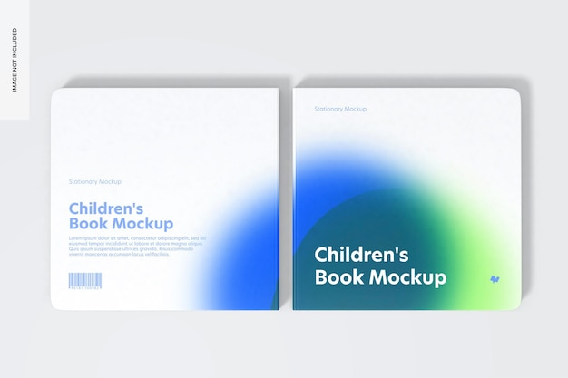 Square book cover and back cover set mockup