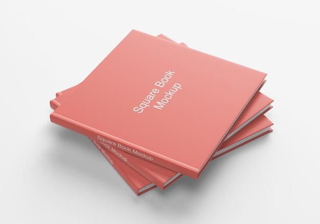 Square book or magazine cover bundle mockup
