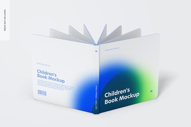 Square book mockup, cover and back cover