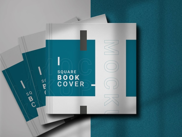 エレガントな影の正方形の本のモックアップ