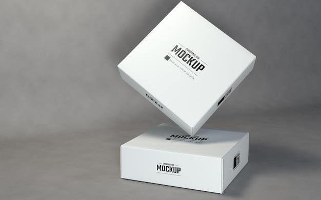 灰色の背景を持つ正方形のボックスのモックアップデザインテンプレート