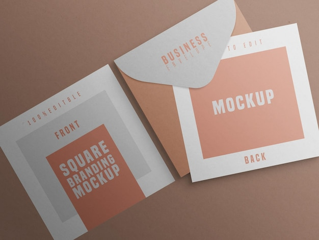 Mockup del marchio quadrato con biglietto da visita e busta