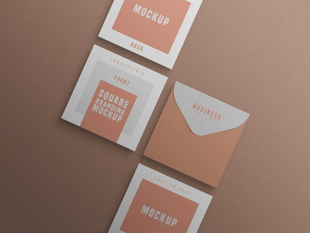 Square branding mockup with business card and envelop
