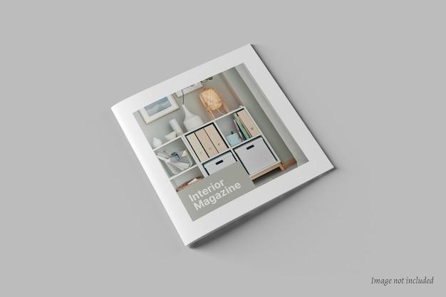 正方形のパンフレットとカタログカバーのモックアップ