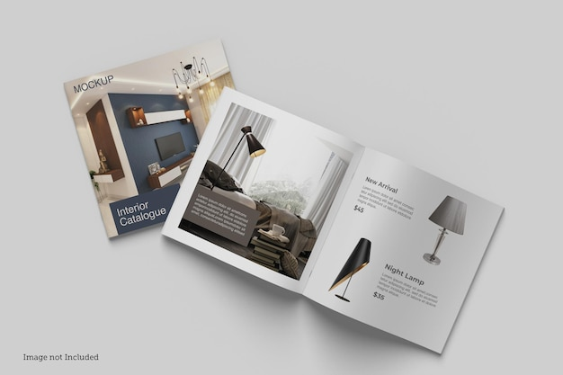 정사각형 브로셔 및 카탈로그 목업 렌더링 디자인
