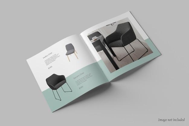 正方形のパンフレットとカタログのモックアップ