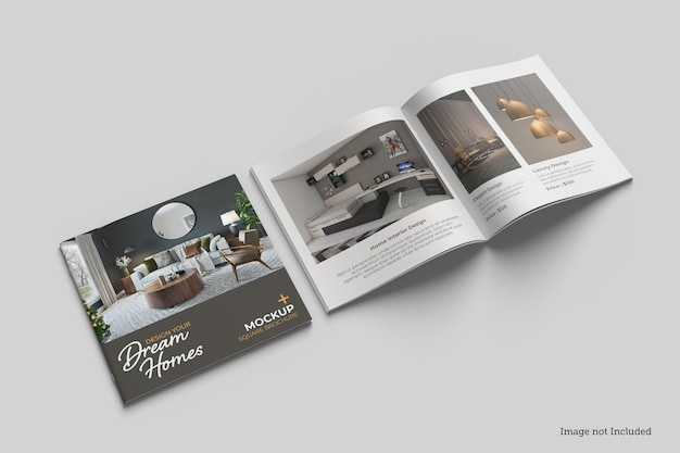 Square brochure and catalog mockup designs in 3d rendeirngs in 3d rendeirng