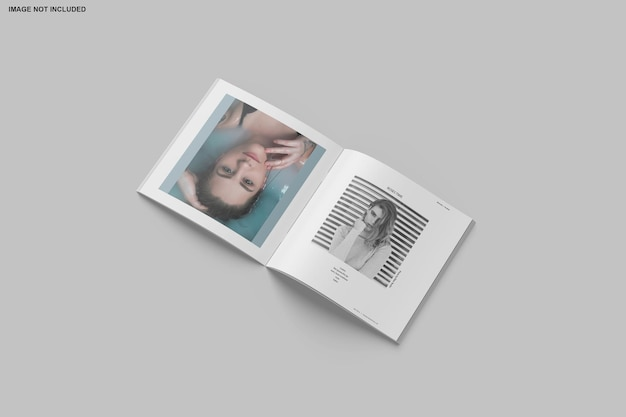Square brochure and catalog mockup isolated