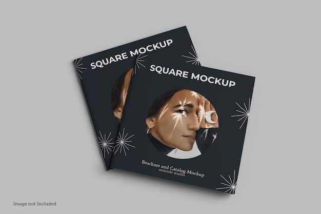 Square brochure and catalog mockup rendering design