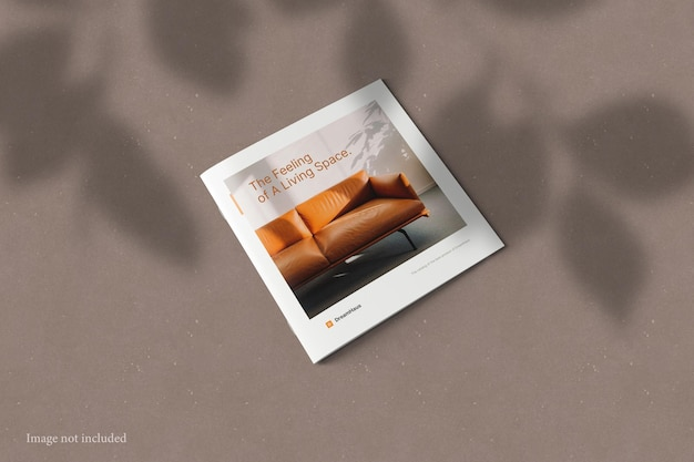 Square brochure catalog mockup with shadow overlay