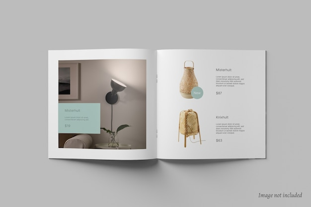 Square brochure and catalog mockup